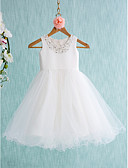 cheap Wedding Veils-Ball Gown Knee Length Flower Girl Dress - Satin / Tulle Sleeveless Jewel Neck with Beading / Bow(s) by LAN TING BRIDE®