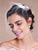 baratos Véus de Noiva-Uma Camada Borda Crua Véus de Noiva Véu Ruge / Véu para Cabelo Curto / Peça para Cabeça com Véu com Pérolas Tule