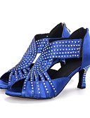 cheap Mother of the Bride Dresses-Women's Latin Shoes Elastic Fabric Sandal / Heel Rhinestone / Sparkling Glitter / Zipper Flared Heel Customizable Dance Shoes Black / Red / Blue / Performance / Leather / Professional