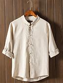 זול חולצות לגברים-אחיד צווארון עומד(סיני) סגנון סיני פשתן, חולצה - בגדי ריקוד גברים