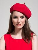 tanie Modne czapki i kapelusze-Damskie Zabytkowe Beret Jendolity kolor / Urocza / Beżowy / Czarny / Czerwony / Szary