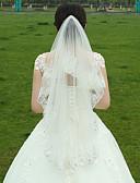 baratos Véus de Noiva-Duas Camadas Borda com aplicação de Renda Véus de Noiva Véu Ponta dos Dedos Com Flor de Cetim Franzido Tule