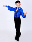 hesapli Latin Dans Giysileri-Latin Dansı Kıyafetler Performans Polyester / Splandeks Fırfırlı Uzun Kollu Yüksek Top / Pantalonlar