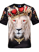 baratos Camisetas & Regatas Masculinas-Homens Camiseta - Festa Esportes Bandagem Activo Punk & Góticas Estampado, Animal Decote Redondo