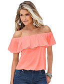 cheap Women's Blouses-Women's Cotton T-shirt - Solid Colored Ruffle Boat Neck / Summer