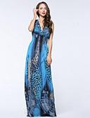 cheap Women's Dresses-Women's Plus Size Boho Swing Dress - Leopard Pleated / Print Maxi Deep V