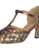 abordables Vestidos de Madrina-Mujer Zapatos de Baile Latino / Salón Brillantina / Semicuero Sandalia Tacón Personalizado Personalizables Zapatos de baile Negro / Rojo / Plata / Ante