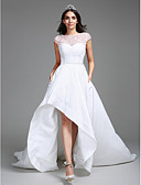 olcso Menyasszonyi ruhák-Báli ruha Szív-alakú Aszimmetrikus Taft Made-to-measure esküvői ruhák val vel Gyöngy / Flitter / Csipke által LAN TING BRIDE®