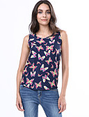 cheap Women's Blouses-Women's Casual Plus Size Tank Top Print U Neck / Summer