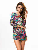 abordables Vestidos de Mujer-Mujer Boho Tallas Grandes Pantalones - Floral Naranja / Fiesta / Mini
