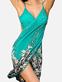 cheap Cover Ups-Women's Strap Green Wrap Cover-Up Swimwear - Floral Backless Print One-Size Green