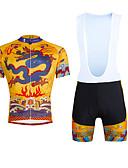 זול שמלות נשים-ILPALADINO בגדי ריקוד גברים שרוולים קצרים חולצת ג'רסי ומכנס קצר ביב לרכיבה - צהוב אופניים מכנסיים קצרים עם כתפיות ג'רזי מדים בסטים, 3D