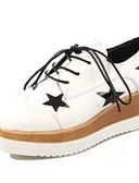 baratos Macacões & Macaquinhos-Mulheres Sapatos Couro Ecológico Verão Saltos Salto Plataforma Cadarço Branco / Preto