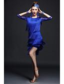 abordables Ropa de Cama de Mujer-Baile Latino Accesorios Mujer Rendimiento Fibra de Leche Encaje / Borla Manga 3/4 Cintura Alta Top / Falda / Pulseras / Danza Latina