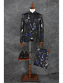 hesapli Takım Elbiseler-Siyah Desen Kişiye Özel Kalıp Polyester Takım elbise - Çentik Tek Sıra Düğmeli Bir Düğme