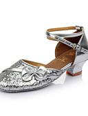 cheap Quartz Watches-Women's Latin Shoes Paillette Sandal Bowknot Customized Heel Customizable Dance Shoes Red / Pink / Golden / Indoor