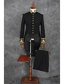 hesapli Smokinler-Siyah Solid Standart Kalıp Polyester Takım elbise - Mandarin Yaka Tek Sıra Düğmeli Daha Fazla Düğme / Suit