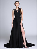 cheap Cocktail Dresses-A-Line Jewel Neck Court Train Chiffon / Lace Cut Out Formal Evening Dress with Ruched / Lace Insert by TS Couture®
