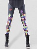 billige Tights til damer-Dame Sporty Tights - Trykt mønster, Geometrisk Medium Midje