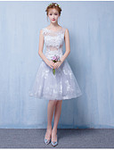 cheap Bridesmaid Dresses-A-Line Scoop Neck Short / Mini Tulle Bridesmaid Dress with Appliques by LAN TING BRIDE®