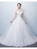 cheap Socks & Hosiery-Ball Gown Off Shoulder Cathedral Train Lace Over Tulle Made-To-Measure Wedding Dresses with Appliques / Ruffle by LAN TING Express