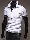 preiswerte Herren Polo Shirts-Herrn Solide Sport Baumwolle Polo Weiß L / Kurzarm / Sommer