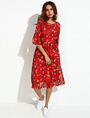 cheap Women's Dresses-Women's Daily Plus Size Boho Street chic Chiffon Dress,Floral Round Neck Midi Silk Summer Mid Rise Inelastic