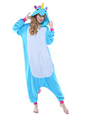 cheap Women's Skirts-Kigurumi Pajamas Flying Horse / Unicorn Onesie Pajamas Costume Polar Fleece Blue / Yellow+Blue / White+Gray Cosplay For Adults' Animal