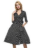baratos Vestidos de Mulher-Mulheres Vintage Solto Bainha Rodado Vestido - Fenda, Poá Decote em V Profundo Colarinho de Camisa Médio