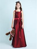 Χαμηλού Κόστους Λουλουδάτα φορέματα για κορίτσια-Γραμμή Α / Πριγκίπισσα Λουριά Μακρύ Ταφτάς Φόρεμα Νεαρών Παρανύμφων με Φιόγκος(οι) / Ζώνη / Κορδέλα / Πιασίματα με LAN TING BRIDE® / Άνοιξη / Φθινόπωρο / Χειμώνας / Γαμήλιο Πάρτι / Φυσικό