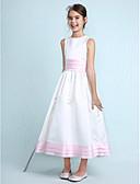 Χαμηλού Κόστους Λουλουδάτα φορέματα για κορίτσια-Γραμμή Α / Πριγκίπισσα Με Κόσμημα Μέχρι το γόνατο Σατέν Φόρεμα Νεαρών Παρανύμφων με Ζώνη / Κορδέλα / Βολάν / Πιασίματα με LAN TING BRIDE® / Άνοιξη / Καλοκαίρι / Φθινόπωρο / Χειμώνας / Γαμήλιο Πάρτι