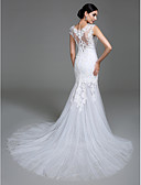 cheap Wedding Dresses-Mermaid / Trumpet Scoop Neck Court Train Satin / Tulle Made-To-Measure Wedding Dresses with Appliques / Button by LAN TING BRIDE® / See-Through