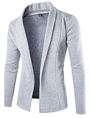 cheap Men's Sweaters & Cardigans-Men's Long Sleeves Cardigan - Solid Colored Shirt Collar