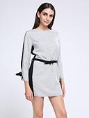hesapli Kadın Elbiseleri-Kadın's Büyük Bedenler Pamuklu Pantolon - Kırk Yama Ekran Rengi / Mini / Fener Kol / Çalışma