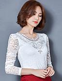 preiswerte Bluse-Damen Solide Übergrössen Bluse, V-Ausschnitt Spitze Ausgehöhlt Polyester