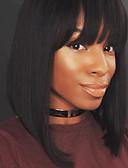 halpa Nuorempien morsiusneitojen mekot-Aidot hiukset Full Lace Peruukki Suora Peruukki Luonnollinen hiusviiva / Afro-amerikkalainen peruukki / 100% käsinsidottu Naisten Lyhyt / Keskikokoinen Aitohiusperuukit verkolla