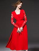 abordables Vestidos de Mujeres-frmz salir sofisticada funda dresssolid tirantes midi de manga larga primavera de poliéster de color rojo / caída de gran altura