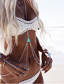 cheap Bikinis-Turquoise Crossover Body Chain / Harness Necklace Resin, Turquoise Ladies, Double-layer, Bikini Women's Silver / Golden Body Jewelry For Daily / Casual / Beach