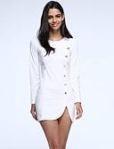 billige Minikjoler-Dame Plusstørrelser Bomuld Tynd Skede Kjole - Ensfarvet Mini Hvid