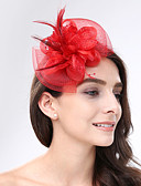 cheap Fashion Hats-Feather / Net Fascinators / Headwear with Floral 1pc Wedding / Special Occasion Headpiece