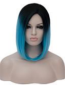 hesapli Göbek Dansı Giysileri-Sentetik Peruklar / Kostüm Perukları Kadın's Mavi Sentetik Saç Mavi Peruk Şort Bonesiz Mavi