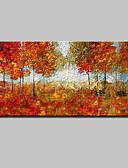 billige Cocktailkjoler-Hang-Painted Oliemaleri Hånd malede - Blomstret / Botanisk Moderne / Europæisk Stil Med Ramme / Stretched Canvas
