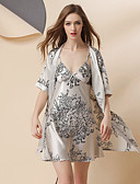 זול הלבשה תחתונה אופנתית-סטן ומשי Nightwear בגדי ריקוד נשים - סגנון אמנותי, דפוס / פרח