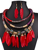 cheap Casual Dresses-Women's Jewelry Set - Feather Ladies, European, Fashion, Festival / Holiday, Native American Include Drop Earrings Statement Necklace Black / Red / Blue For Wedding Party Daily Casual