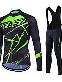 tanie Stroje rowerowe-Fastcute Męskie Długi rękaw Koszulka i spodnie z szelkami na rower - Czarny Puszysta Rower Zestawy odzieży Keep Warm Polarowa podszewka Oddychający Wkładka 3D Szybkie wysychanie Zima Sport Poliester