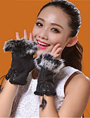 cheap Women's Gloves-Unisex Party / Work Wrist Length Half Finger Gloves - Patchwork / Coffee / Red / Blue / Gray / Fall