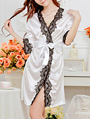 cheap Women's Lingerie-Women's Silk / Polyester Sexy Robes / Satin & Silk Nightwear Patchwork