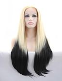 halpa Naisten bleiserit ja takit-Synteettiset pitsireunan peruukit Suora Synteettiset hiukset Vaaleahiuksisuus Peruukki Lace Front