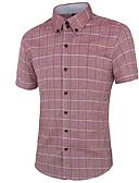 זול חולצות לגברים-משובץ צוארון עם כפתור פשוט כותנה, חולצה - בגדי ריקוד גברים / שרוולים קצרים