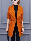 baratos Trench Coats e Casacos Femininos-Mulheres Casaco Longo Básico - Sólido
